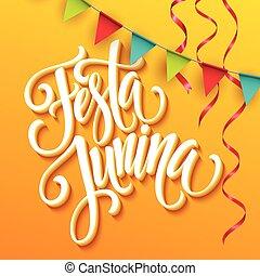 festa, junina, strana, pozdrav, design., vektor, ilustrace