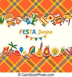 Festa Junina village festival in Latin America. Icons set in...