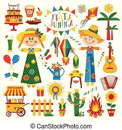 Festa Junina village festival in Latin America. Icons set in...