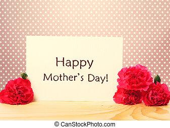 festa mamma, messaggio, scheda, con, garofani