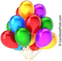 festa, multicolor, palloni, mazzo