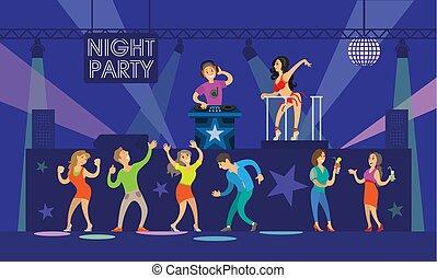 festa, partying, ballo, persone, musica, notte, dj