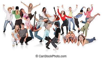 festa, persone, ballo, gruppo
