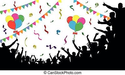 festa, persone, nastri, detenere, confetti., folla, holiday., umore, divertimento, celebrating., persone., palloni, allegro, festivo, silhouette