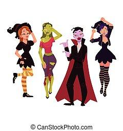 festa, persone, zombie, -, costumi, dracula, strega, halloween, vampiro