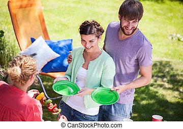 festa, servire, pasto, giardino