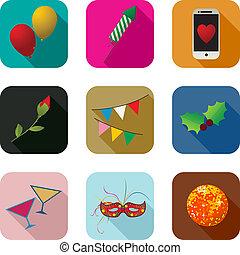 festa, set, icone