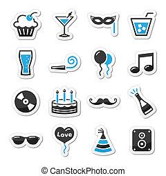 festa, set, vacanze, laboratorio, icone