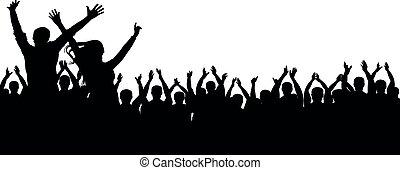 festa, silhouette, folla