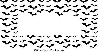 festa, silhouette, pipistrelli, invito, cornice, nero, halloween