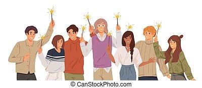 festa., style., corporativo, fondo., urente, donne, cartone animato, insieme., giovane, felice, vettore, illustrazione, celebrare, gruppo, presa a terra, sparklers, uomini, appartamento, natale bianco, persone, nuovo, amici, anno