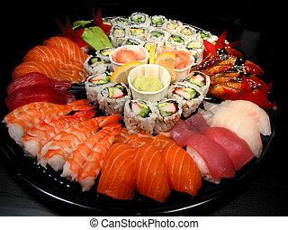 festa, sushi, vassoio