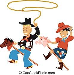 festa, tema, bambini, cowboy