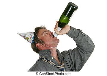 festa, tipo, champagne