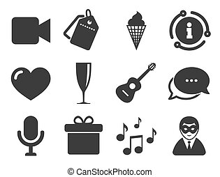 festa, vettore, compleanno, icons., carnival., celebrazione