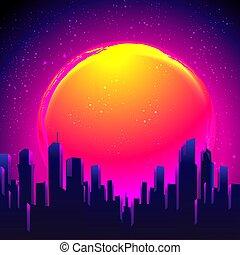 festa, vettore, skyline., retro, illustration., notte, città...