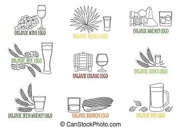 festa, whisky, vodka, bevanda, magro, contorno, simbolo, linea, vino, icon., isolato, logotipo, distintivo, tequila, fondo., vettore, drinks., cognac, emblems., bourbon, elementi, bianco, cocktail, alcolico, birra, bibite, illustration.