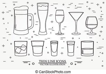 festa, whisky, vodka, bevanda, magro, contorno, simbolo, linea, vino, icon., isolato, tequila, fondo., vettore, drinks., occhiali, cognac, emblems., bourbon, elementi, bianco, cocktail, alcolico, birra, bibite, illustration.