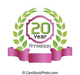 festeggiare, anni, anniversario, 20