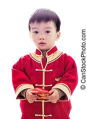 festeggiare, anno, asiatico, busta, presa a terra, cinese, bambino nuovo, rosso