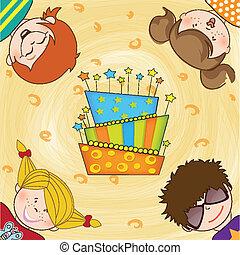 festeggiare, bambini, festa compleanno