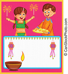 festeggiare, diwali, godere, petardo, bambini