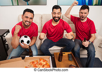 festeggiare, hardcore, calcio, ventilatori