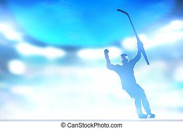 festeggiare, scopo, su, giocatore, vittoria, mani, bastone hockey