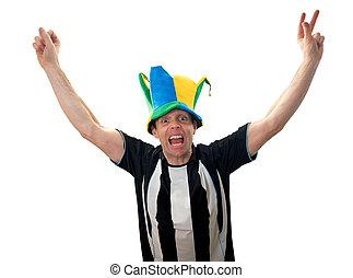 festeggiare, ventilatori, football