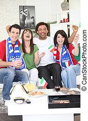 festeggiare, ventilatori, football, italiano