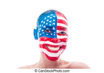 festett, american lobogó, closeup, leány