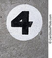 festett, négy, szám, fal