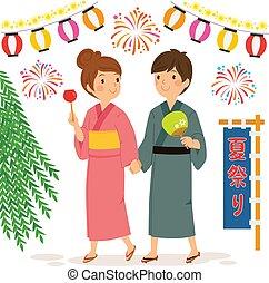 festival, été, couple, japonaise