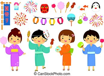 festival, été, ensemble, japonaise