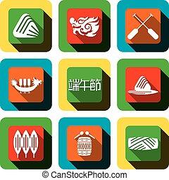 festival, ícone, desenho, bote, dragão