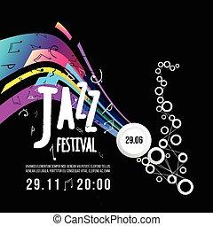 festival, affiche, jazz, élément, day., vecteur, saxophone., international, conception, music., template.