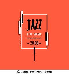 festival, affiche, jazz, fond, keys., vecteur, musique, aviateur, clavier, conception, template.