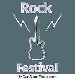 festival, affiche, silhouette, guitare, rocher