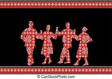 festival, affisch, dansare, traditionell, folk