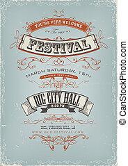 festival, affisch, grunge, inbjudan