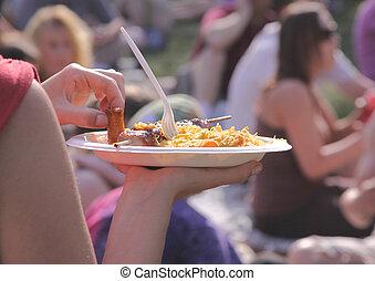 festival, alimento, verão