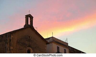 Vilafranca del Penedes Spain, August-September 2015. Annual traditional festival. Evening sky