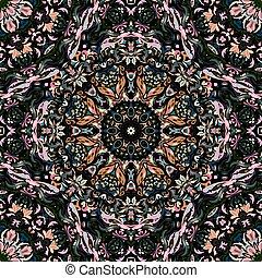 festival art seamless mandala pattern. Ethnic geometric print. Colorful frame background