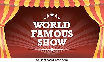 festival., arti, vector., classico, manifesto, circo, parco, illustrazione, top., fondo., sagoma, grande, festa., divertimento, tenda