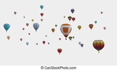 festival., ballons, canal, profondeur, alpha, balloon, included., blanc, arrière-plan., coloré