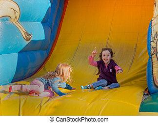 festival, bouncy, castelo, povo
