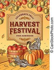 festival, cartaz, colheita