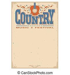 festival, cartaz, isolado, guitarra, música, fundo,...
