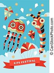 festival, cartaz, papagaio