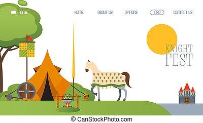 festival, cheval, tente, moyen âge, vecteur, camp, ...
